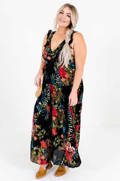 Black Patterned Cute and Comfortable Boutique Maxi Dresses for Women