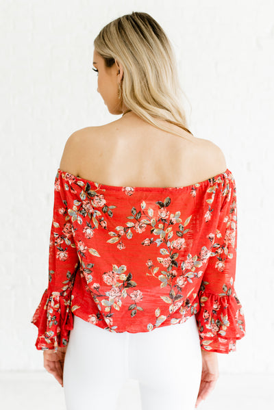 Vermilion Red Women's Floral Patterned Boutique Top