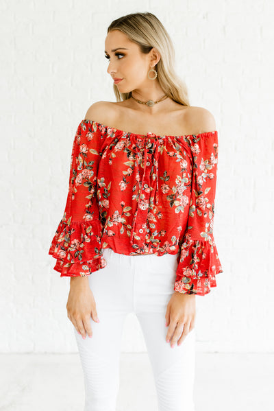 Vermilion Red Cute Ruffled Off Shoulder Style Boutique Tops for Women
