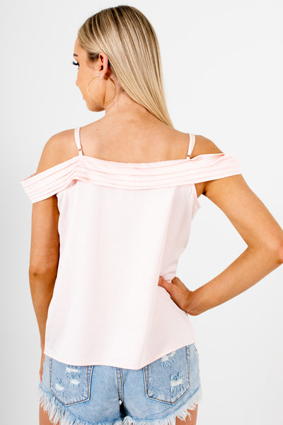 Women's Blush Pink Adjustable Strap Boutique Tops
