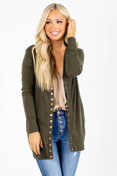 Snap Button Basic Cardigan