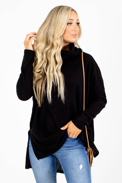 Black Split Hem Boutique Tops for Women