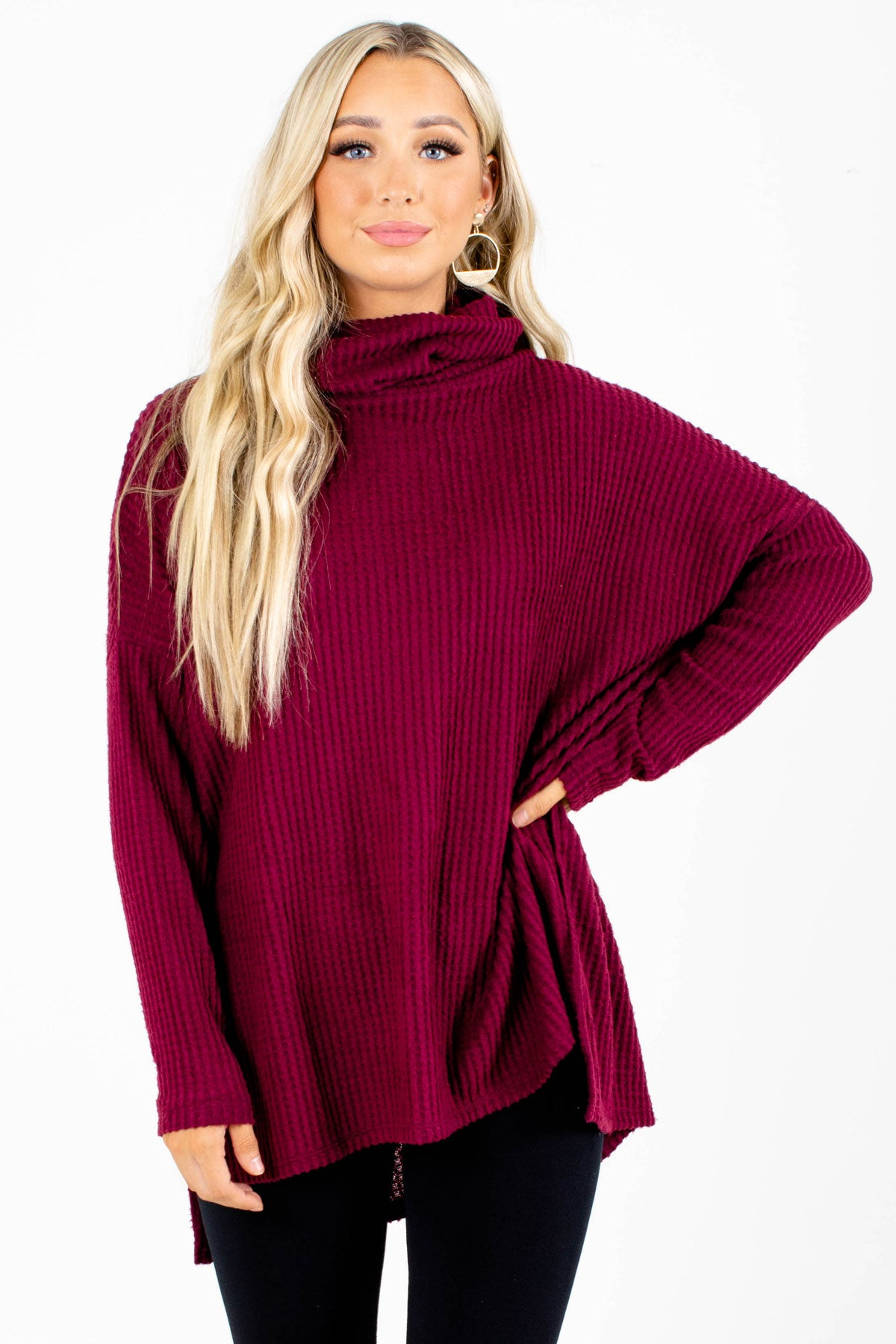 Burgundy Waffle Knit Boutique Tops for Women