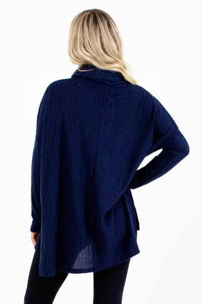 Women's Navy Blue Long Sleeve Boutique Tops