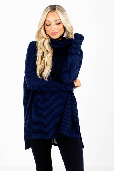 Navy Blue Waffle Knit Boutique Tops for Women