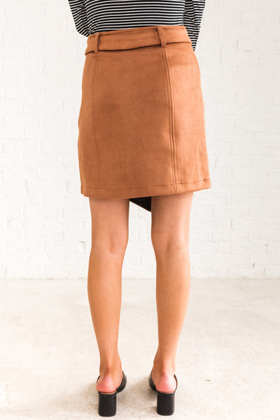 Cognac Brown High Quality Faux Suede Mini Skirt with Belt