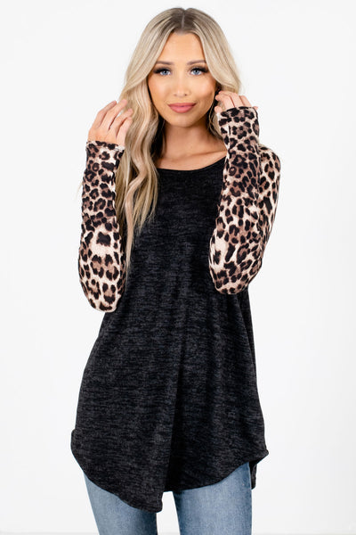 Black Leopard Print Patterned Sleeve Boutique Tops for Women