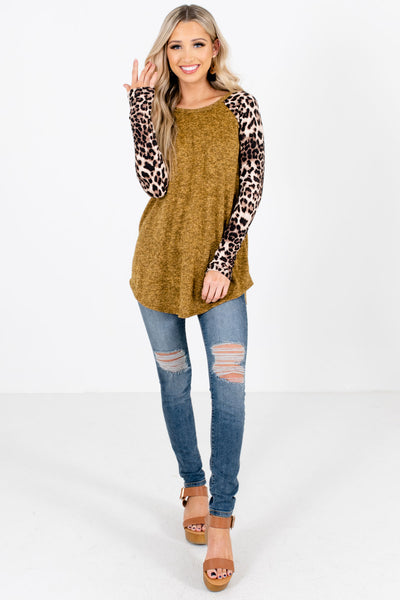 Mustard Stretchy Boutique Tops for Women