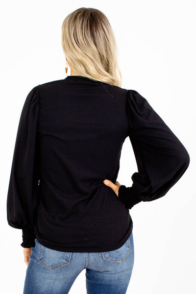 Ribbed Black Boutique Tops for Women