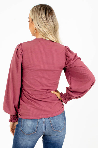 Puff Sleeve Mauve Boutique Top