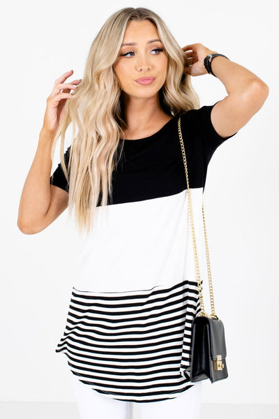White and Black Color Block Patterned Boutique Tops for Women