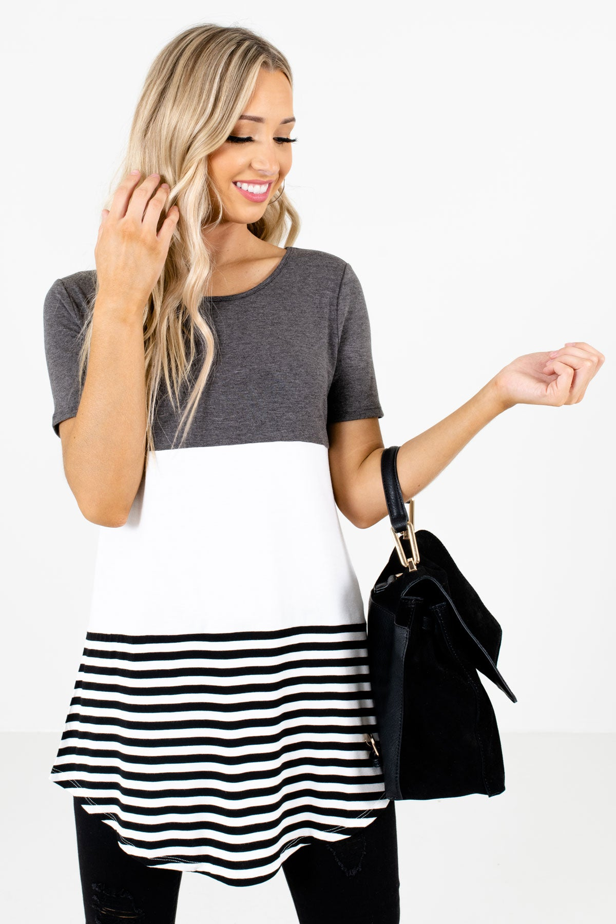 Gray White and Black Color Block Patterned Boutique Tops for Women