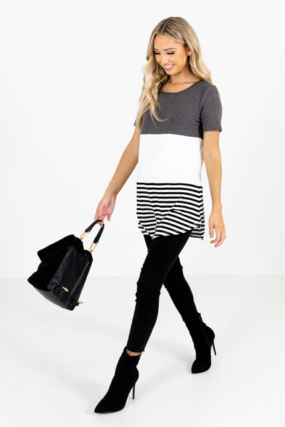 Women's Gray Rounded Hem Boutique Tops