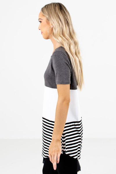 Gray Round Neckline Boutique Tops for Women