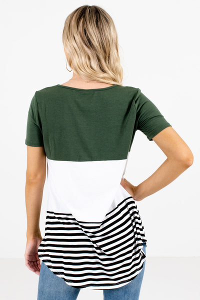 Women's Green Stripe Patterned Boutique Top
