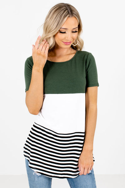 Women's Green Rounded Hem Boutique Tops