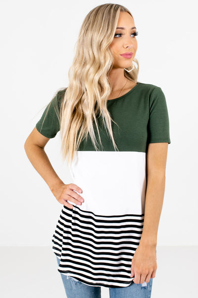 Women's Green Casual Everyday Boutique Tops