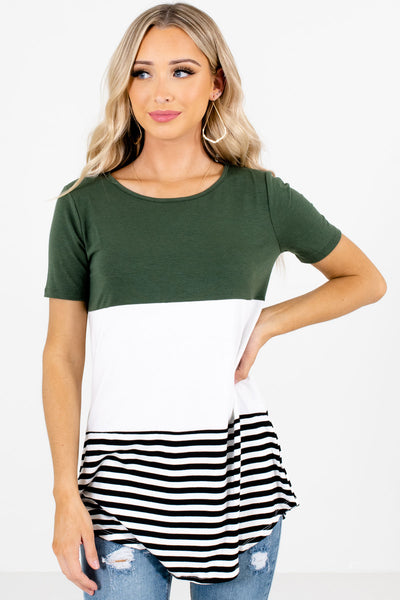 Green White and Black Color Block Patterned Boutique Tops for Women