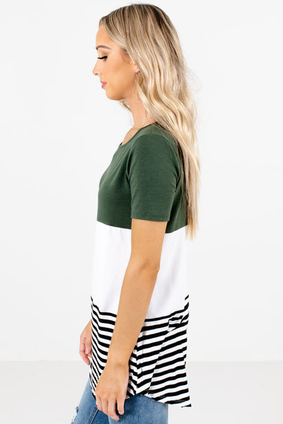 Green Round Neckline Boutique Tops for Women