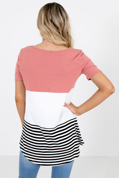 Women's Pink Stripe Patterned Boutique Top