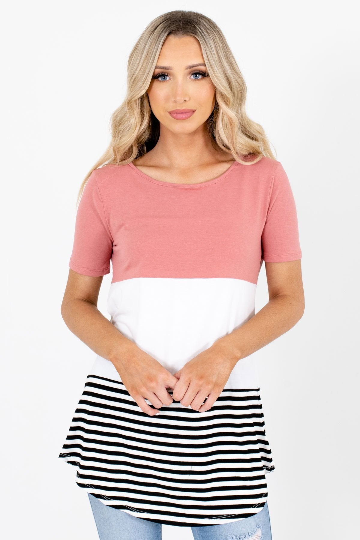 Pink White and Black Color Block Patterned Boutique Tops for Women