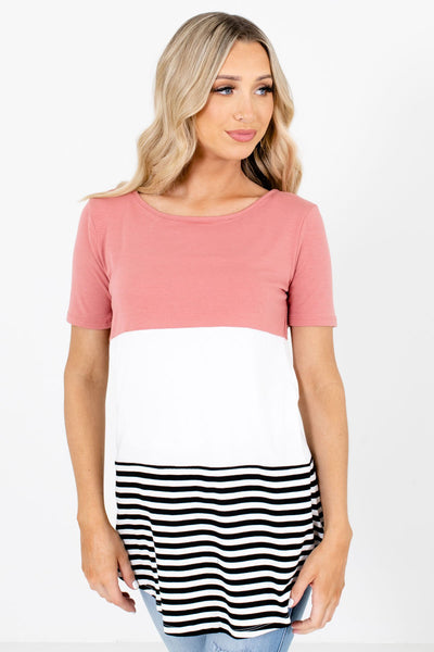 Women's Pink Rounded Hem Boutique Tops