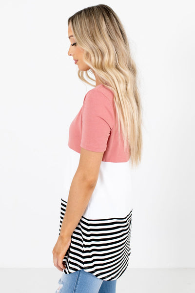Pink Round Neckline Boutique Tops for Women