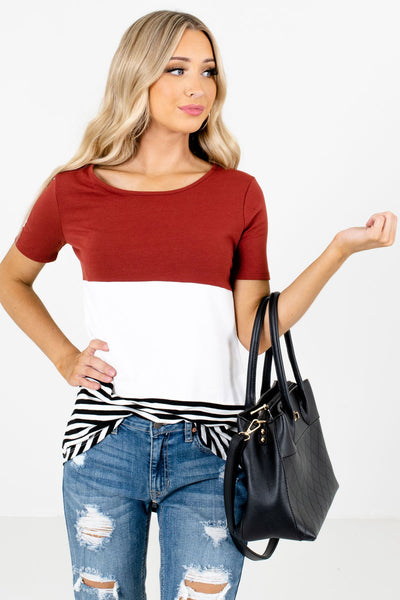 Women's Rust Red Casual Everyday Boutique Tops
