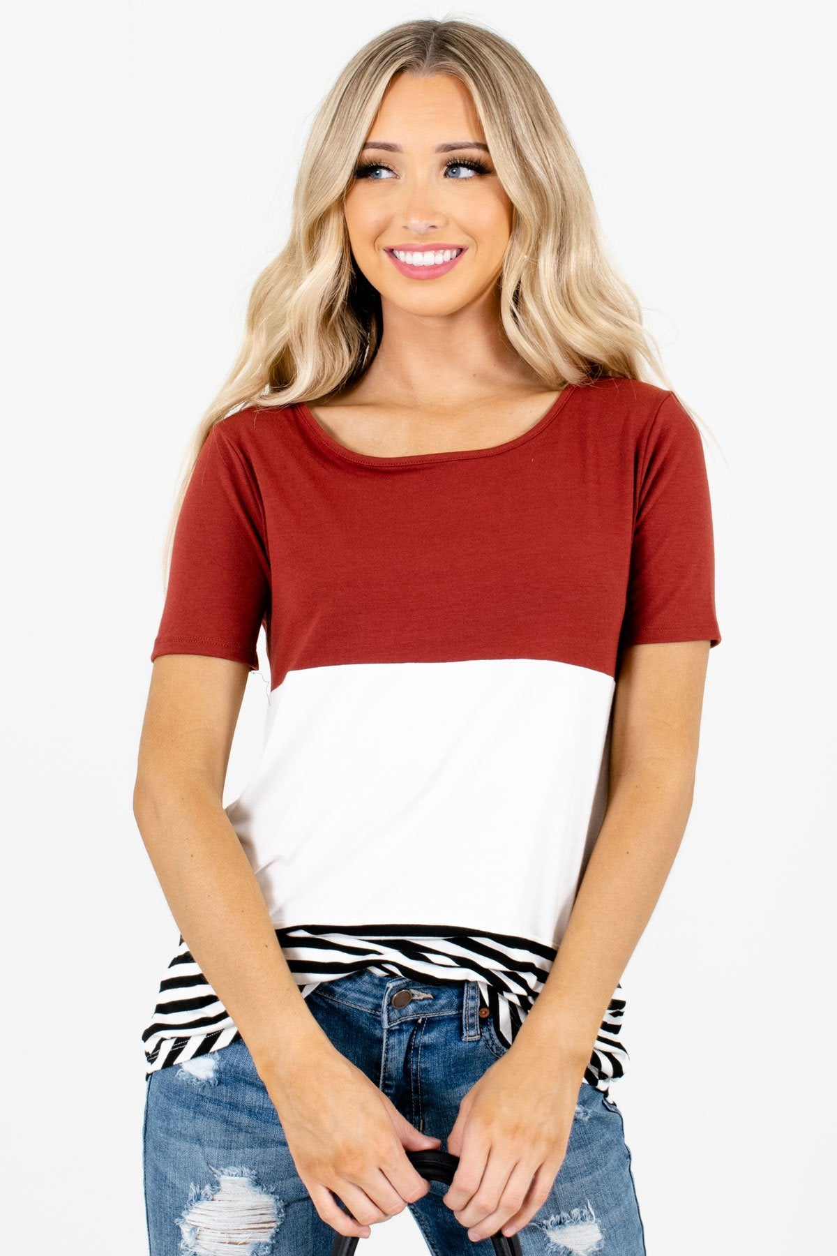 Rust Red White and Black Color Block Patterned Boutique Tops for Women