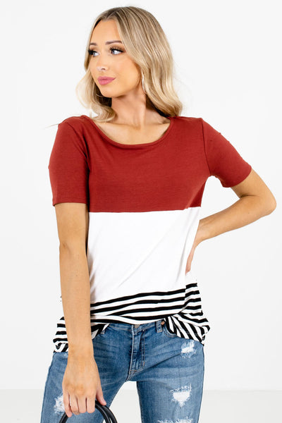 Women's Rust Red Rounded Hem Boutique Tops
