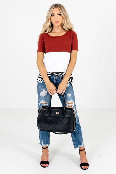 Rust Red Cute and Comfortable Boutique Tops for Women