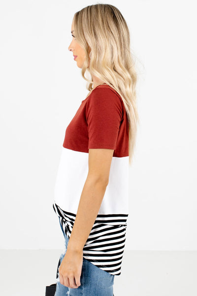 Rust Red Round Neckline Boutique Tops for Women