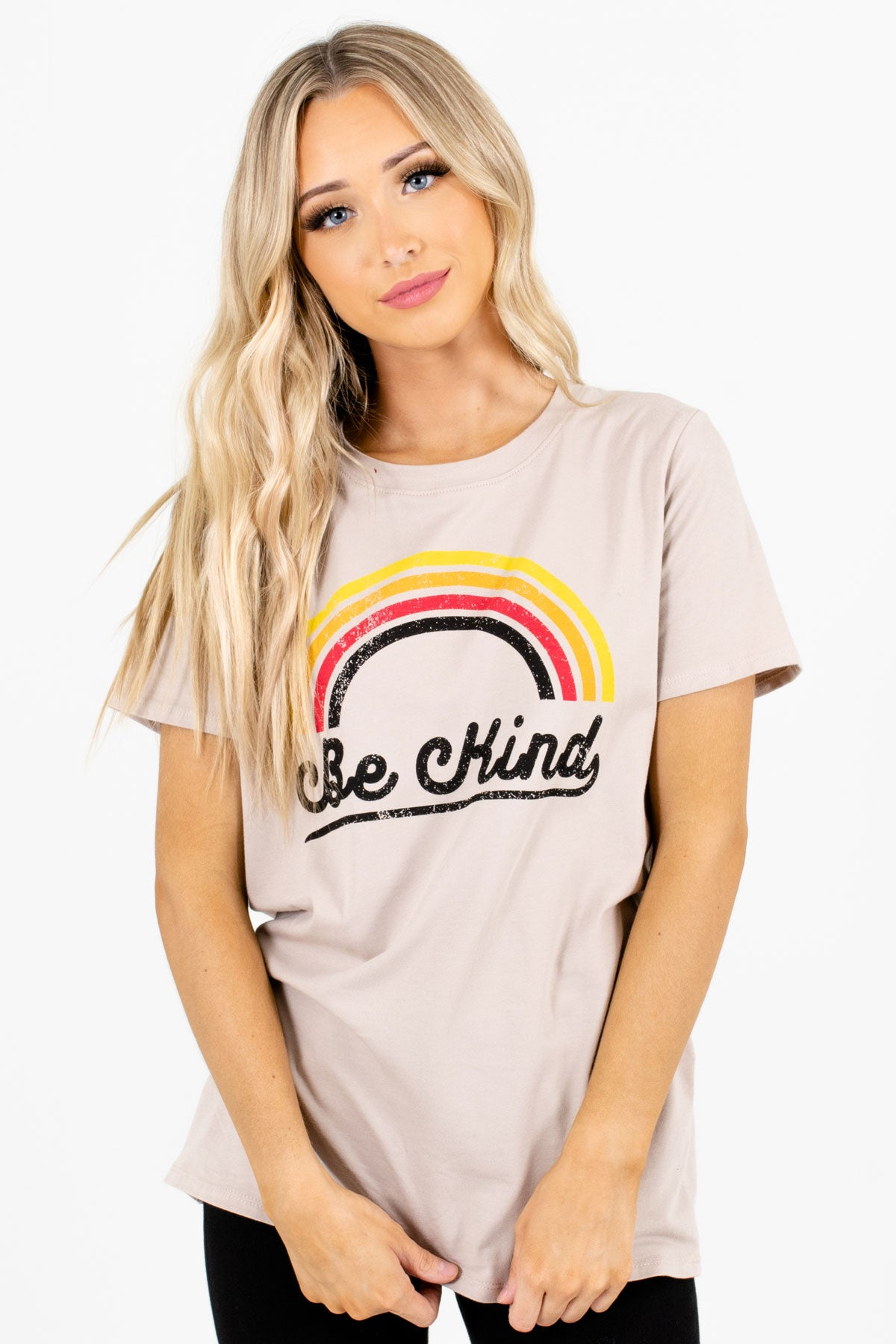 "Taupe Brown ""Be Kind"" Lettering Boutique Graphic Tees for Women"