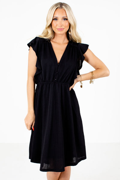 Black Ruffle Sleeve Boutique Mini Dresses for Women
