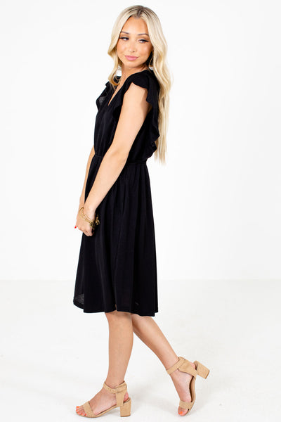 Women's Black Knee-Length Boutique Dress