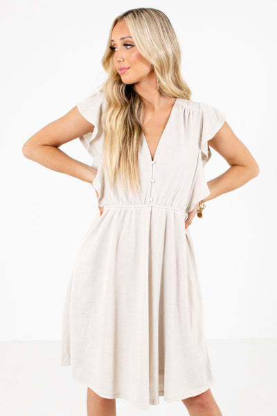 Cream Button-Up Bodice Boutique Mini Dresses for Women
