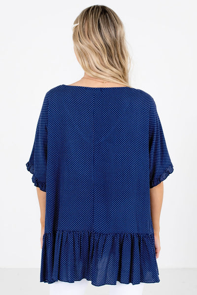 Women's Navy Blue Peplum Style Hem Boutique Tops