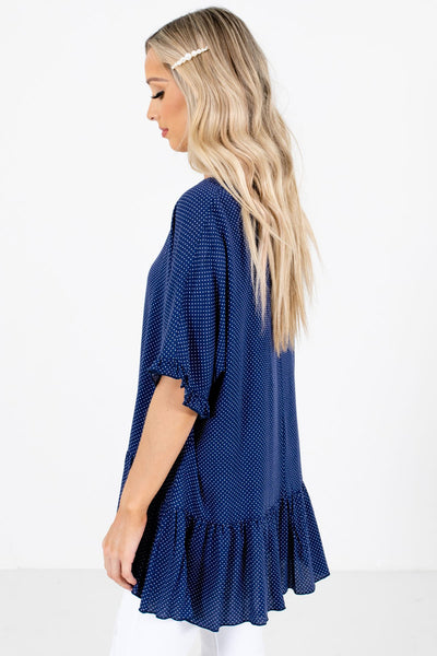 Navy Blue Ruffled Sleeve Accented Boutique Tops for Women