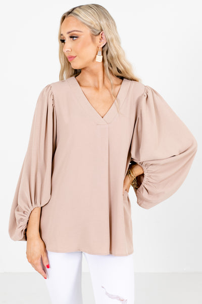 Brown Bishop Sleeve Boutique Blouses for Women