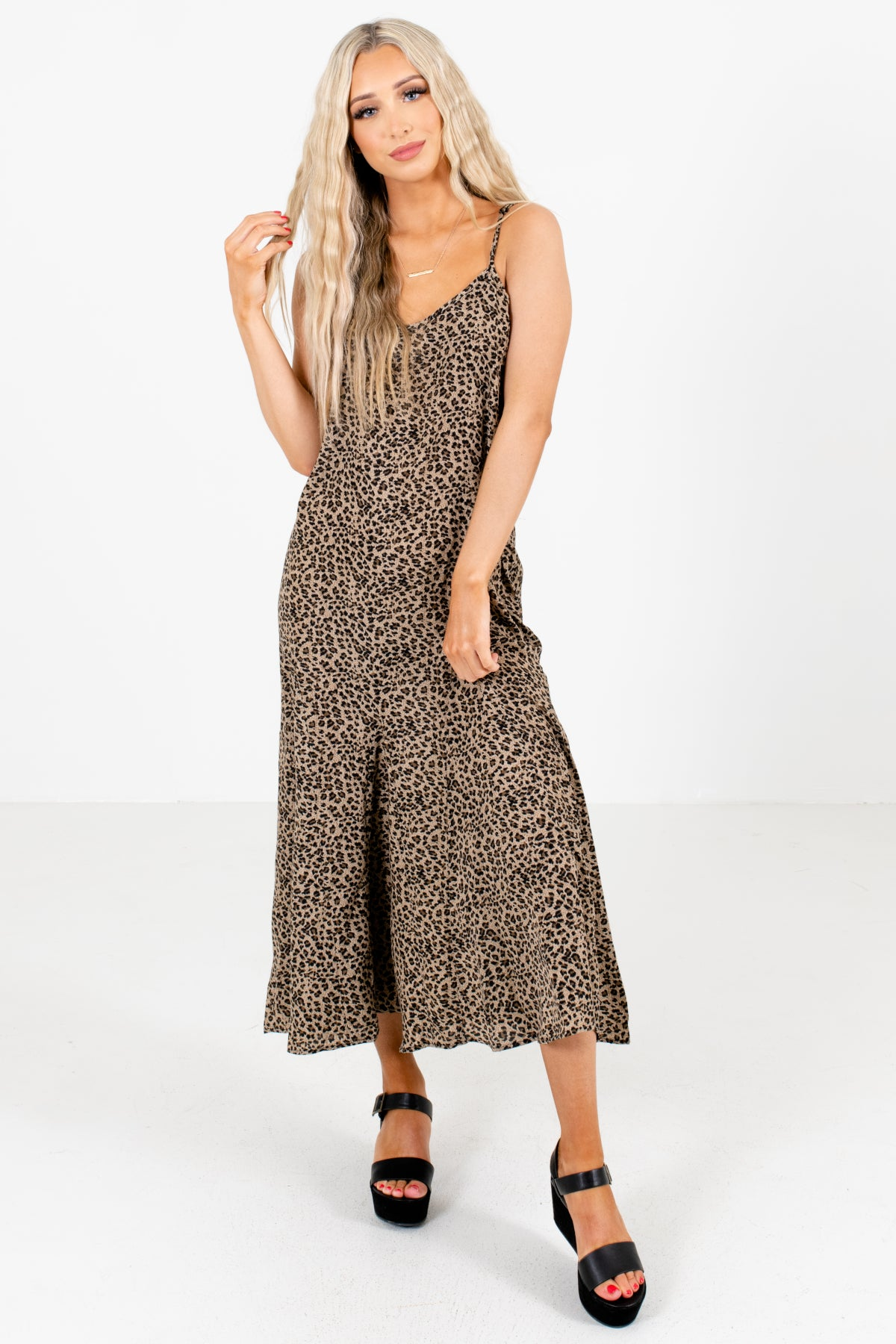 Brown Leopard Print Patterned Boutique Midi Dresses for Women
