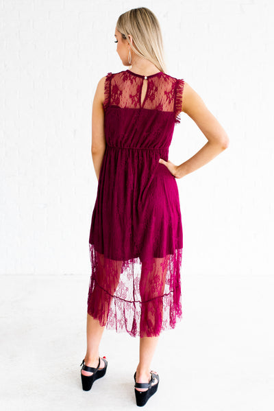 Be My Sweetheart Purple Lace Knee-Length Dress