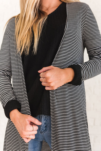 Black and White Striped Cute Cardigan Sweaters for Women
