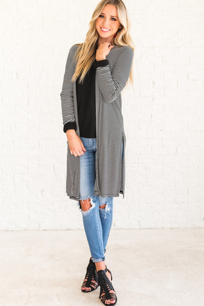 Black and White Striped Long Cardigans for Women