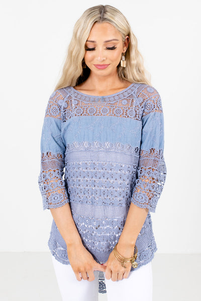 Women's Blue 3/4 Length Sleeve Boutique Tops