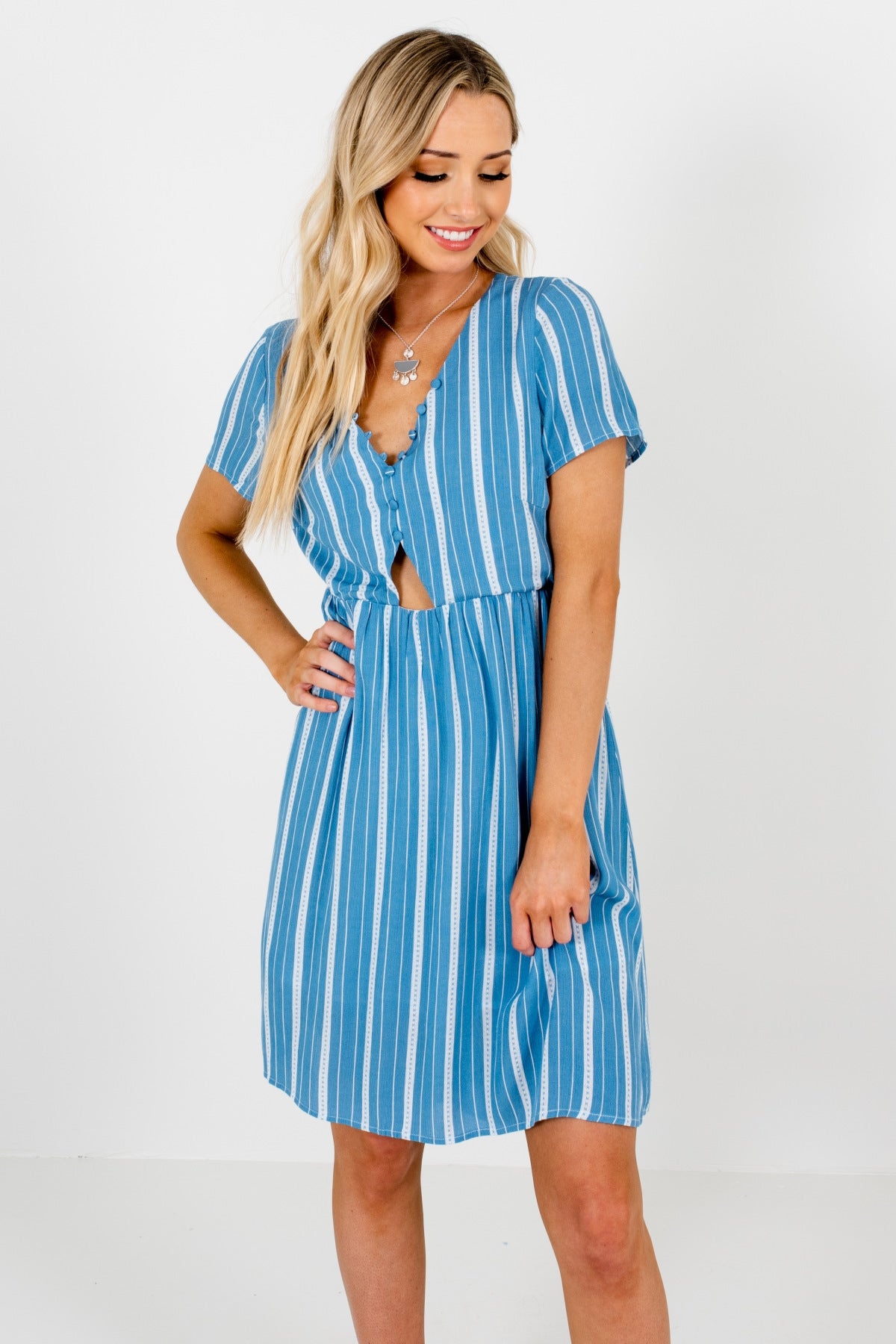 Blue White Striped Button-Up Bodice Cut Out Mini Dresses