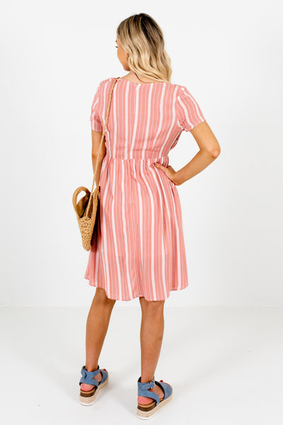 Salmon Pink White Striped Cut-Out Mini Dresses for Women