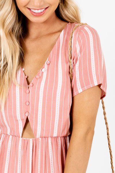 Pink White Striped Cut Out Mini Dresses for Spring and Summer