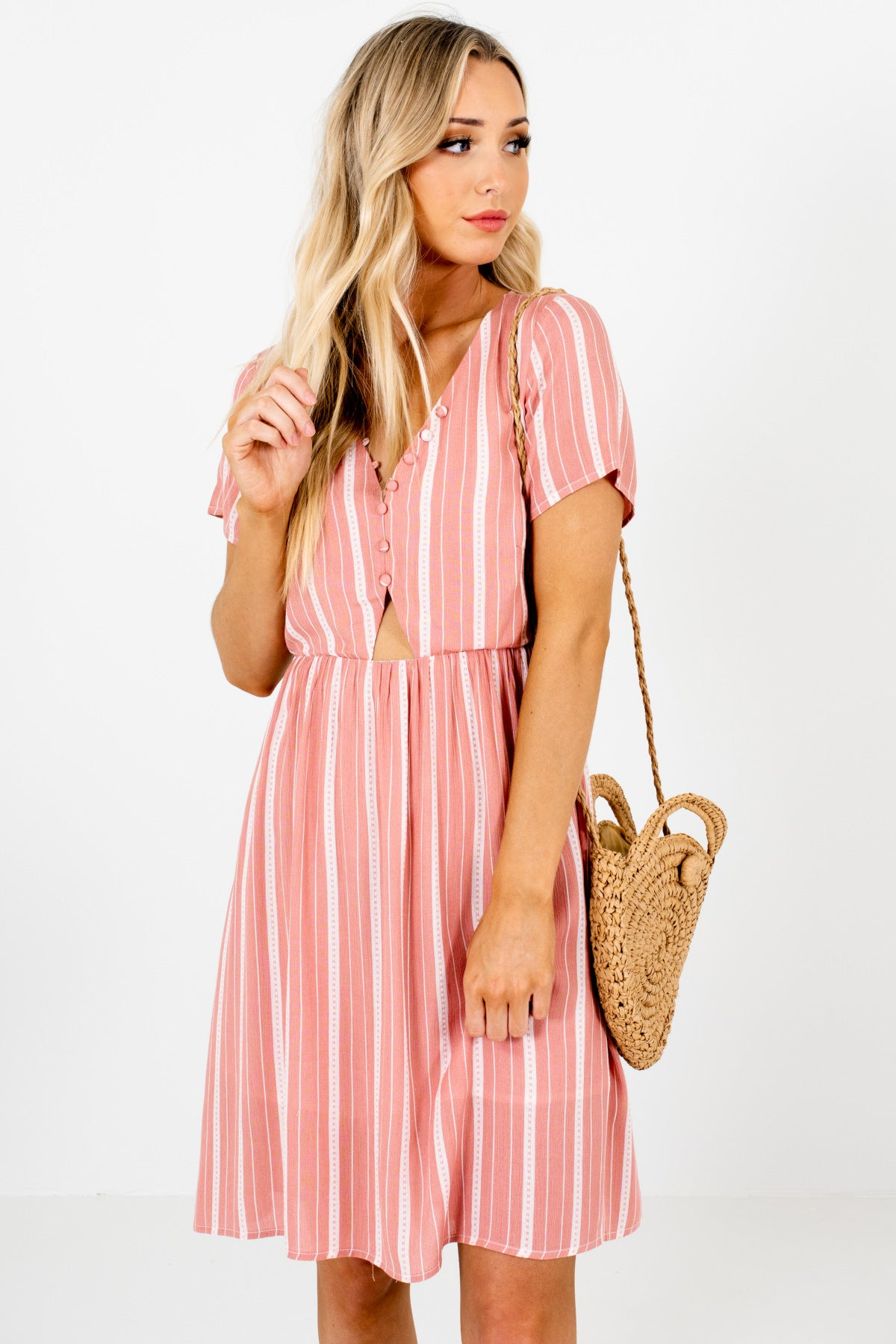 Pink White Striped Button Up Bodice Cut Out Mini Dresses