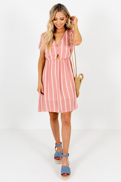 Pink White Striped Button Up Cut Out Mini Dresses Boutique