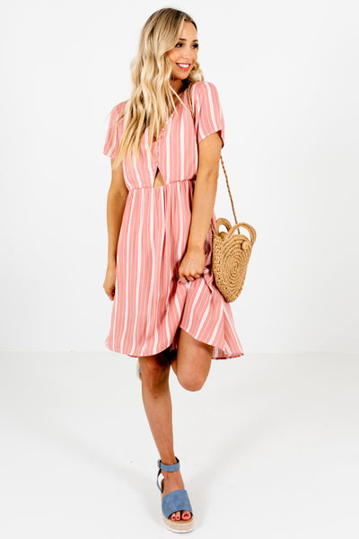 Pink White Striped Mini Dresses Affordable Online Boutique